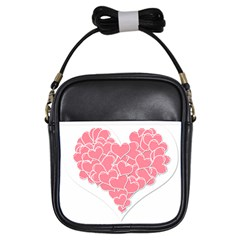 Heart Stripes Symbol Striped Girls Sling Bags by Nexatart