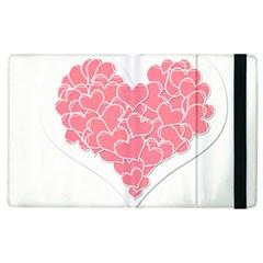 Heart Stripes Symbol Striped Apple Ipad 2 Flip Case by Nexatart