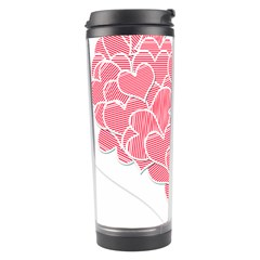 Heart Stripes Symbol Striped Travel Tumbler by Nexatart