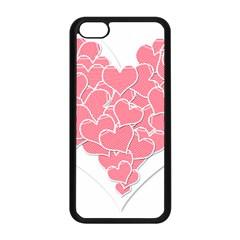 Heart Stripes Symbol Striped Apple Iphone 5c Seamless Case (black) by Nexatart