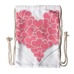 Heart Stripes Symbol Striped Drawstring Bag (large) by Nexatart