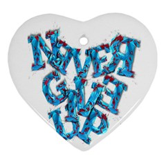 Sport Crossfit Fitness Gym Never Give Up Ornament (heart) by Nexatart