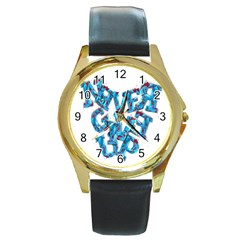 Sport Crossfit Fitness Gym Never Give Up Round Gold Metal Watch by Nexatart