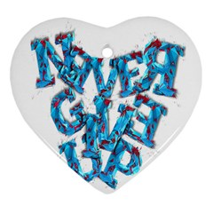Sport Crossfit Fitness Gym Never Give Up Heart Ornament (two Sides) by Nexatart