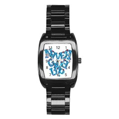 Sport Crossfit Fitness Gym Never Give Up Stainless Steel Barrel Watch by Nexatart