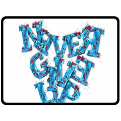 Sport Crossfit Fitness Gym Never Give Up Double Sided Fleece Blanket (large)  by Nexatart