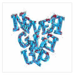 Sport Crossfit Fitness Gym Never Give Up Large Satin Scarf (square) by Nexatart