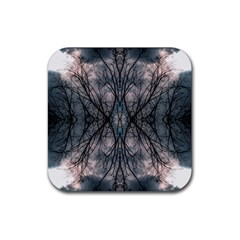 Storm Nature Clouds Landscape Tree Rubber Coaster (square)  by Nexatart