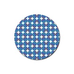 Geometric Dots Pattern Rainbow Rubber Round Coaster (4 Pack)  by Nexatart