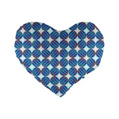 Geometric Dots Pattern Rainbow Standard 16  Premium Flano Heart Shape Cushions by Nexatart
