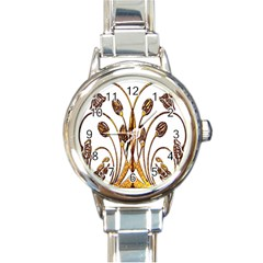 Scroll Gold Floral Design Round Italian Charm Watch by Nexatart