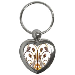 Scroll Gold Floral Design Key Chains (heart)  by Nexatart
