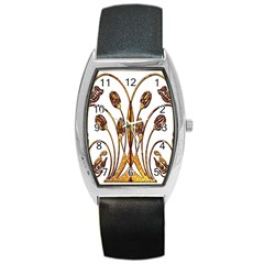 Scroll Gold Floral Design Barrel Style Metal Watch by Nexatart