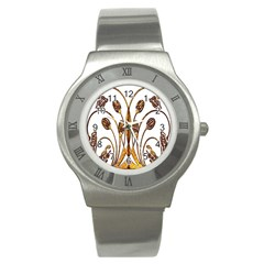Scroll Gold Floral Design Stainless Steel Watch by Nexatart