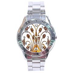 Scroll Gold Floral Design Stainless Steel Analogue Watch by Nexatart