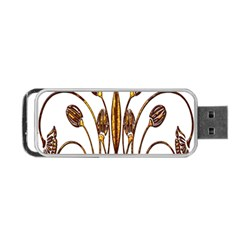 Scroll Gold Floral Design Portable Usb Flash (two Sides) by Nexatart
