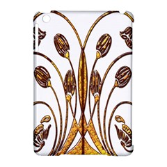 Scroll Gold Floral Design Apple Ipad Mini Hardshell Case (compatible With Smart Cover) by Nexatart