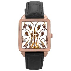 Scroll Gold Floral Design Rose Gold Leather Watch  by Nexatart