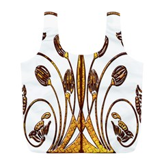Scroll Gold Floral Design Full Print Recycle Bags (l)  by Nexatart