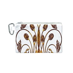 Scroll Gold Floral Design Canvas Cosmetic Bag (s) by Nexatart
