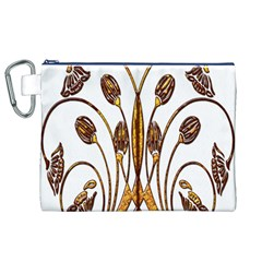 Scroll Gold Floral Design Canvas Cosmetic Bag (xl)