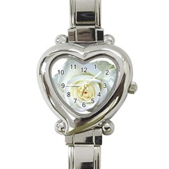 Flower White Rose Lying Heart Italian Charm Watch by Nexatart