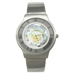 Flower White Rose Lying Stainless Steel Watch by Nexatart