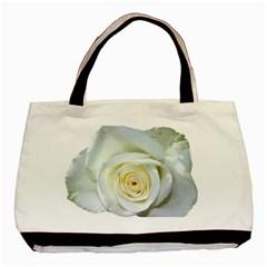 Flower White Rose Lying Basic Tote Bag by Nexatart