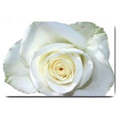 Flower White Rose Lying Large Doormat  by Nexatart