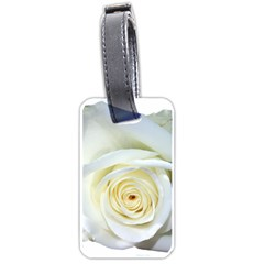 Flower White Rose Lying Luggage Tags (one Side)  by Nexatart