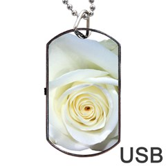 Flower White Rose Lying Dog Tag Usb Flash (one Side) by Nexatart