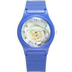 Flower White Rose Lying Round Plastic Sport Watch (s) by Nexatart