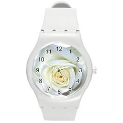 Flower White Rose Lying Round Plastic Sport Watch (m) by Nexatart