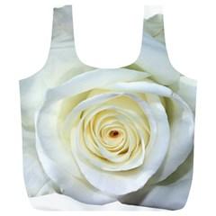 Flower White Rose Lying Full Print Recycle Bags (l)