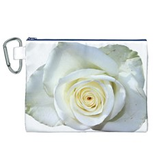 Flower White Rose Lying Canvas Cosmetic Bag (xl) by Nexatart