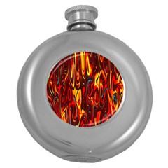Effect Pattern Brush Red Orange Round Hip Flask (5 Oz) by Nexatart