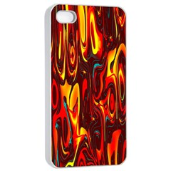 Effect Pattern Brush Red Orange Apple iPhone 4/4s Seamless Case (White)