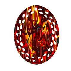 Effect Pattern Brush Red Orange Oval Filigree Ornament (two Sides) by Nexatart