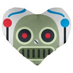 Robot Large 19  Premium Heart Shape Cushions by BestEmojis