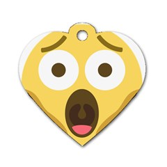 Scream Emoji Dog Tag Heart (two Sides) by BestEmojis