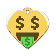 Money Face Emoji Dog Tag Heart (two Sides) by BestEmojis