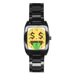 Money Face Emoji Stainless Steel Barrel Watch by BestEmojis