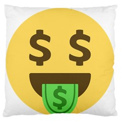 Money Face Emoji Large Flano Cushion Case (one Side) by BestEmojis