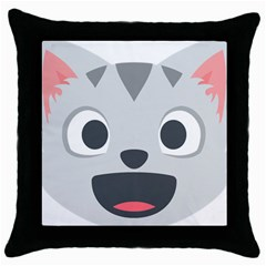 Cat Smile Throw Pillow Case (black) by BestEmojis