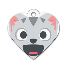 Cat Smile Dog Tag Heart (one Side) by BestEmojis