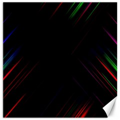 Streaks Line Light Neon Space Rainbow Color Black Canvas 16  x 16   by Mariart