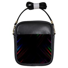 Streaks Line Light Neon Space Rainbow Color Black Girls Sling Bags by Mariart