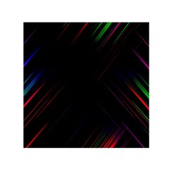 Streaks Line Light Neon Space Rainbow Color Black Small Satin Scarf (square) by Mariart