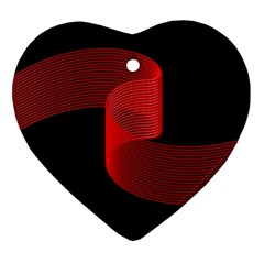 Tape Strip Red Black Amoled Wave Waves Chevron Ornament (heart) by Mariart