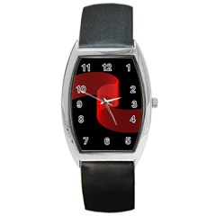 Tape Strip Red Black Amoled Wave Waves Chevron Barrel Style Metal Watch by Mariart